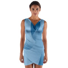 Abstract Blue Background Swirls Wrap Front Bodycon Dress