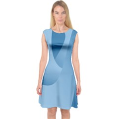 Abstract Blue Background Swirls Capsleeve Midi Dress