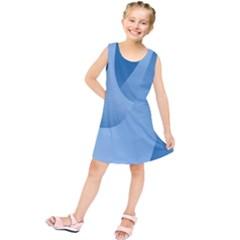Abstract Blue Background Swirls Kids  Tunic Dress