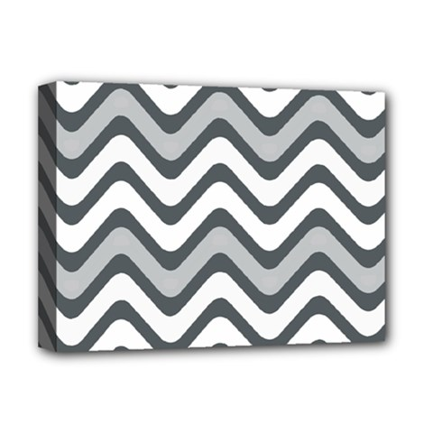 Shades Of Grey And White Wavy Lines Background Wallpaper Deluxe Canvas 16  x 12