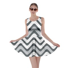 Shades Of Grey And White Wavy Lines Background Wallpaper Skater Dress