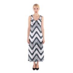 Shades Of Grey And White Wavy Lines Background Wallpaper Sleeveless Maxi Dress