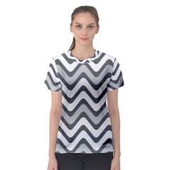 Shades Of Grey And White Wavy Lines Background Wallpaper Women s Sport Mesh Tee