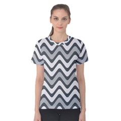 Shades Of Grey And White Wavy Lines Background Wallpaper Women s Cotton Tee