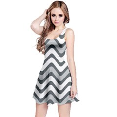Shades Of Grey And White Wavy Lines Background Wallpaper Reversible Sleeveless Dress