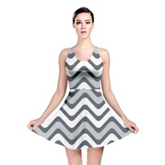 Shades Of Grey And White Wavy Lines Background Wallpaper Reversible Skater Dress