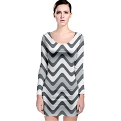 Shades Of Grey And White Wavy Lines Background Wallpaper Long Sleeve Bodycon Dress