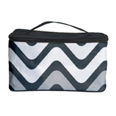 Shades Of Grey And White Wavy Lines Background Wallpaper Cosmetic Storage Case