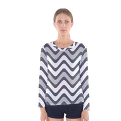 Shades Of Grey And White Wavy Lines Background Wallpaper Women s Long Sleeve Tee