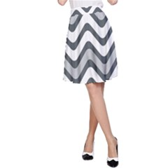 Shades Of Grey And White Wavy Lines Background Wallpaper A-Line Skirt