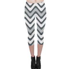 Shades Of Grey And White Wavy Lines Background Wallpaper Capri Leggings