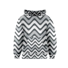 Shades Of Grey And White Wavy Lines Background Wallpaper Kids  Pullover Hoodie