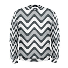 Shades Of Grey And White Wavy Lines Background Wallpaper Men s Sweatshirt