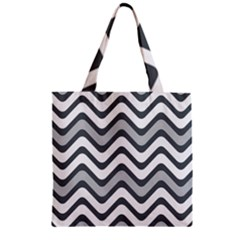 Shades Of Grey And White Wavy Lines Background Wallpaper Zipper Grocery Tote Bag
