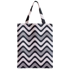Shades Of Grey And White Wavy Lines Background Wallpaper Zipper Classic Tote Bag