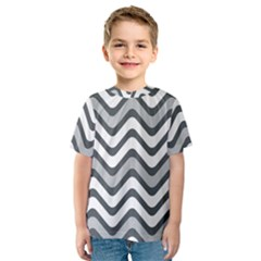 Shades Of Grey And White Wavy Lines Background Wallpaper Kids  Sport Mesh Tee