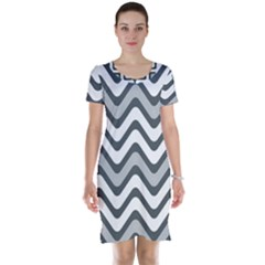 Shades Of Grey And White Wavy Lines Background Wallpaper Short Sleeve Nightdress