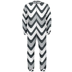 Shades Of Grey And White Wavy Lines Background Wallpaper OnePiece Jumpsuit (Men)