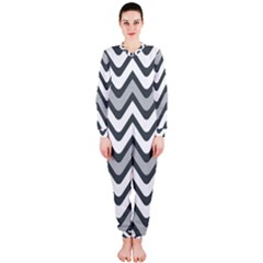 Shades Of Grey And White Wavy Lines Background Wallpaper OnePiece Jumpsuit (Ladies)