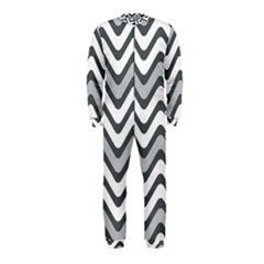 Shades Of Grey And White Wavy Lines Background Wallpaper OnePiece Jumpsuit (Kids)