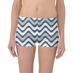 Shades Of Grey And White Wavy Lines Background Wallpaper Boyleg Bikini Bottoms