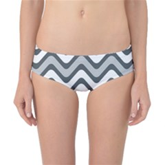 Shades Of Grey And White Wavy Lines Background Wallpaper Classic Bikini Bottoms