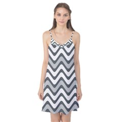 Shades Of Grey And White Wavy Lines Background Wallpaper Camis Nightgown