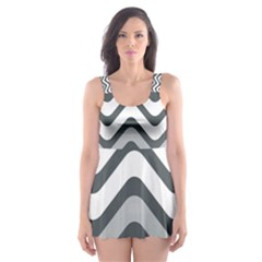 Shades Of Grey And White Wavy Lines Background Wallpaper Skater Dress Swimsuit
