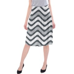 Shades Of Grey And White Wavy Lines Background Wallpaper Midi Beach Skirt