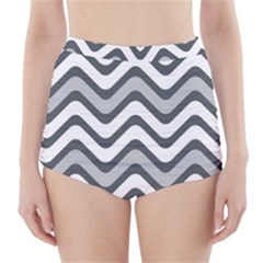 Shades Of Grey And White Wavy Lines Background Wallpaper High Waisted Bikini Bottoms