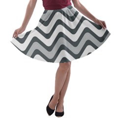 Shades Of Grey And White Wavy Lines Background Wallpaper A Line Skater Skirt