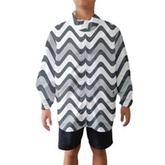 Shades Of Grey And White Wavy Lines Background Wallpaper Wind Breaker (kids)