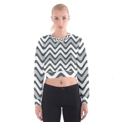 Shades Of Grey And White Wavy Lines Background Wallpaper Women s Cropped Sweatshirt
