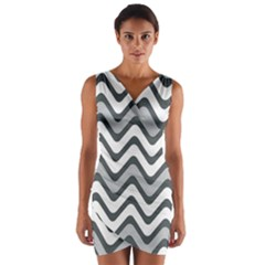 Shades Of Grey And White Wavy Lines Background Wallpaper Wrap Front Bodycon Dress