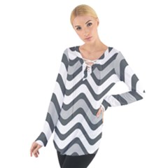 Shades Of Grey And White Wavy Lines Background Wallpaper Women s Tie Up Tee