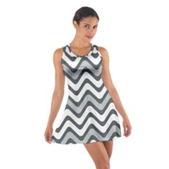 Shades Of Grey And White Wavy Lines Background Wallpaper Cotton Racerback Dress