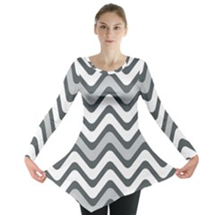 Shades Of Grey And White Wavy Lines Background Wallpaper Long Sleeve Tunic