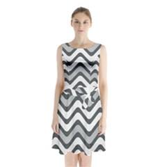 Shades Of Grey And White Wavy Lines Background Wallpaper Sleeveless Chiffon Waist Tie Dress