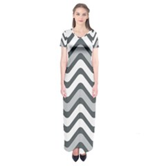 Shades Of Grey And White Wavy Lines Background Wallpaper Short Sleeve Maxi Dress