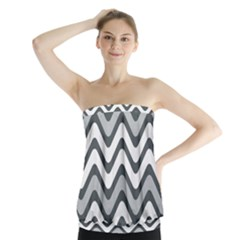 Shades Of Grey And White Wavy Lines Background Wallpaper Strapless Top