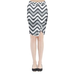 Shades Of Grey And White Wavy Lines Background Wallpaper Midi Wrap Pencil Skirt