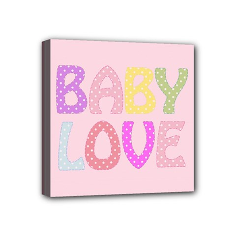 Pink Baby Love Text In Colorful Polka Dots Mini Canvas 4  X 4