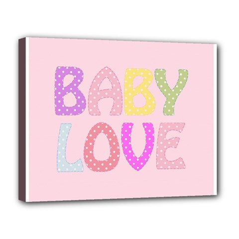 Pink Baby Love Text In Colorful Polka Dots Canvas 14  X 11