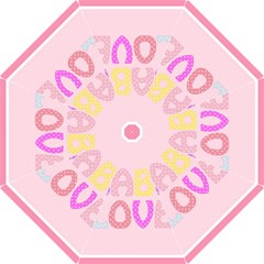 Pink Baby Love Text In Colorful Polka Dots Folding Umbrellas