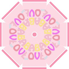 Pink Baby Love Text In Colorful Polka Dots Straight Umbrellas