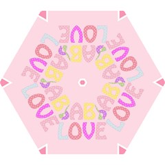 Pink Baby Love Text In Colorful Polka Dots Mini Folding Umbrellas
