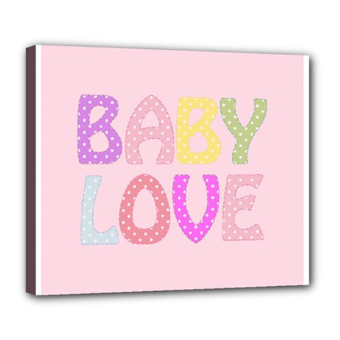 Pink Baby Love Text In Colorful Polka Dots Deluxe Canvas 24  x 20