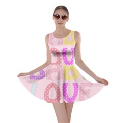 Pink Baby Love Text In Colorful Polka Dots Skater Dress