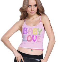 Pink Baby Love Text In Colorful Polka Dots Spaghetti Strap Bra Top
