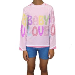 Pink Baby Love Text In Colorful Polka Dots Kids  Long Sleeve Swimwear